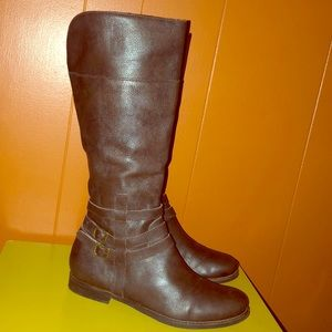 Matisse Brown Leather Knee High ZIP Boots